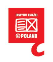 Na czewonym tle napis: Instytut Ksiażki Poland, w centrum rozłożona książka.