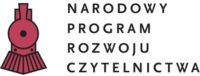 Logo Narodowego Programu Rozwoju Czytelnictwa. Na białym tle napisowi towarzyszy czerwona lokomotywa.