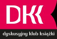 """Logo DKK. Na czerwonym polu, przypominającym rozłożoną książkę, znajduje się skrót DKK, na czarnym pasku poniżej tekst """"dyskusyjny klub książki""""."""