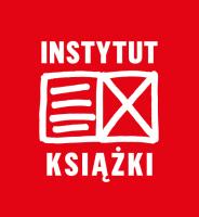 Logo Instytutu Książki. Na czerwonym tle znajduje się biały znak przedstawiający rozłożoną książkę - na jej prawej stronie znajdują się cztery poziome linie, na prawej x. Na górze znajduje się wyraz Instytut, na dole Książki.